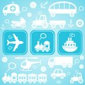Transport icons card with white means of ob light blue background Royalty Free Stock Photography