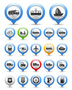 Transport icons collection of map markers with Stock Images