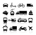 Transport icons collection of representing transportation and travel Royalty Free Stock Photos