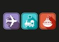 Transport icons modern simple means of with flat design Stock Photo