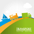 Transport icons over lanscape background vector illustration Stock Photos