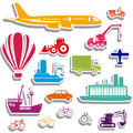 Transport icons over white background illustration Stock Photos