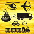 Transport icons set of black on yellow background Royalty Free Stock Photo