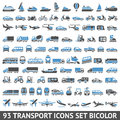 Transport icons set blue and gray bicolor colors vector illustrations silhouettes isolated on white background Stock Images