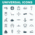 Transport Icons Set. Collection Of Sailboat, Cruise, Flight Vehicle And Other Elements. Also Includes Symbols Such As