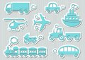 Transport icons set of cute blue means of Royalty Free Stock Photography