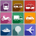Transport icons set of of different color Royalty Free Stock Photos