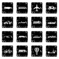 Transport icons set, grunge style