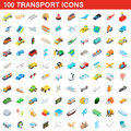 100 transport icons set, isometric 3d style Royalty Free Stock Photo