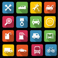 Transport icons set of sixteen different and automative Royalty Free Stock Photography