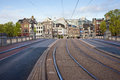 Transport infrastructure in amsterdam street and tramway on the hogesluis bridge hoge sluis brug the city of netherlands early Royalty Free Stock Photography