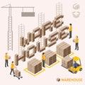 Transport isometric warehouse vector design