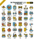 Transport logistic & Travel outline icons