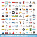 100 transport and road icons set, cartoon style