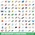 100 transport and road icons set, isometric style