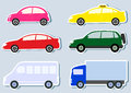 Transport set with colorful cars silhouette Royalty Free Stock Photography