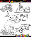 Transport set for coloring book or page cartoon illustration of black and white transportation or vehicles characters children Royalty Free Stock Photos