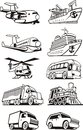 Transport set vehicles for the of passengers and cargo Royalty Free Stock Images