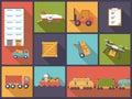 Transport and shipping flat design vector illustration.