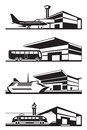 Transport stations with vehicles vector illustration Stock Photo