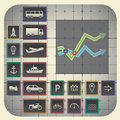Transport symbols infographic elements with graph background including Royalty Free Stock Photography
