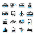 Transport travel icons set isoalted on white black and blue labels vehicle trasport holidays Stock Image