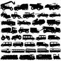 Transport- und Aufbaufahrzeuge Stockbild