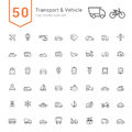 Transport & Vehicle Icon Set. 50 Line Vector Icons. Royalty Free Stock Photo