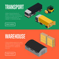 Transport and warehouse isometric banners set