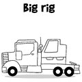 Transportation of big rig hand draw