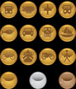 Transportation Buttons - gold round Royalty Free Stock Photography
