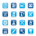 Transportation and car repair icons Stock Photography
