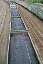 Transportation of coal in commodity cars russia Stock Photos