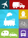 Transportation collage color air land and sea Stock Photography