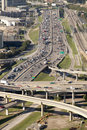 Transportation dallas traffic aerial view of freeways in downtown texas looking north on i e Stock Images