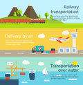 Transportation and delivery web banners set railway over Royalty Free Stock Images