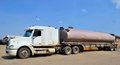 Transportation of fuels and lubricants and fuels tanker truck with trailers Stock Photos