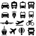 Transportation icon set in black Stock Photos
