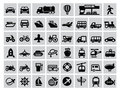 Transportation icon vector black set on gray Stock Photos