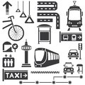 Transportation icons big set of public traffic concept set Royalty Free Stock Photo