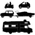 Transportation icons collection vector silhouett d silhouette Royalty Free Stock Image