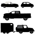 Transportation icons collection vector silhouett d silhouette Stock Photos