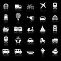Transportation icons with reflect on black background