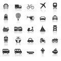 Transportation icons with reflect on white background