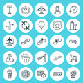 Transportation Icons Set. Collection Of Hostess, Stair Lift, Video Surveillance And Other Elements. Also Includes