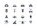 Transportation icons set front view Royalty Free Stock Photo