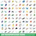 100 transportation icons set, isometric 3d style