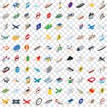 100 transportation icons set, isometric 3d style Royalty Free Stock Photo
