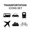 Transportation icons set. Travel silhouette vector symbols. Royalty Free Stock Photo