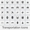 Transportation icons set vector isolated on grey background